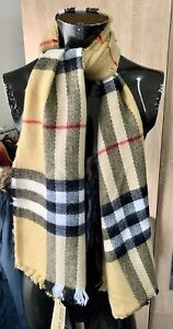 SALE ! - NWT BURBERRY SCARF COTTON CLASSIC GIANT ICON BEIGE CAMEL RRP 380 Euro