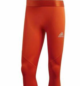 Adidas Women's Alphaskin 3/4 Tights Workout Gym Pants Orange New NWT Size XL