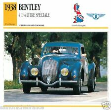 BENTLEY 41/4 LITRE SPECIALE 1938 CAR  Great Britain GRANDE BRETAGNE CARD FICHE
