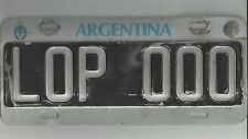 RETRO CAR LICENSE PLATE FROM ARGENTINA (RA) ARGENTINA REPUBLIC 000