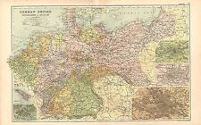 1911 VICTORIAN MAP ~ GERMAN EMPIRE NETHERLANDS & BELGIUM HAMBURG BERLIN METZ