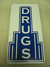 DRUGS Metal Sign Pharmacy Bar Lunch Counter 40's 50's Vintage Style Art Deco