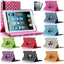 360 Rotating Polka Dot Leather Case Smart Cover w/ Stand For Apple iPad Mini 1