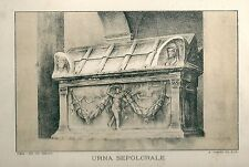 1894 IVREA Canavese Torino Urna sepolcrale Tomatis Litografia