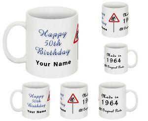 Happy 50th Birthday Year Mug Cup Celebration Gift Personalised Mug Add any Name