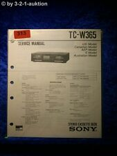 Sony Service Manual TC W365 Cassette Deck  (#0313)