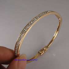 New 18K Yellow Gold GP Double Rows of Crystal Bangle Bracelet BL122B