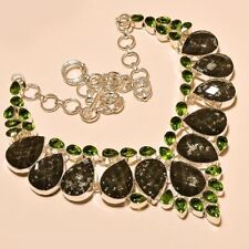 BEAUTIFUL FACETED DICHROIC GLASS WITH PERIDOT 925 STERLING SILVER NECKLACE 18""