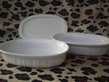 Corning Ware F-15-B French White 15 Oz. Oval Dishes 2 With 1 Plastic Lid