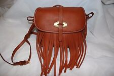 DOONEY & BOURKE LULU FIONA CROSSBODY TASSLE FRINGE HANDBAG SADDLE BROWN NEW $248