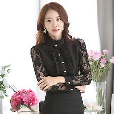 Women Lace Sleeve Chiffon Shirt Ruffle Collar Hollow Out Slim Office Blouse Top