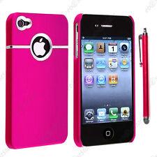 Housse Coque Rigide Silver-Line chromé Rose Apple iPhone 4S 4 + Stylet
