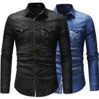 Camisas Mens Denim Shirts Long Sleeves Slim Fit Two Pockets Washed Casual EK6485