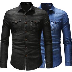 New Mens Denim Shirts Long Sleeves Slim Fit Pockets Washed Casual Shirts Tops