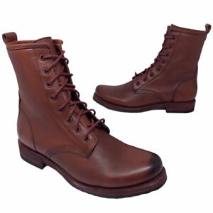 Frye Womens Veronica Combat Boots Red Leather Ankle 3470322 Lace Up 8 B