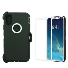 New For Apple iPhone X 10 Defender Case w/(Clip fits Otterbox)&Screen Bk-Wt