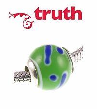 Genuine TRUTH PK 925 sterling silver GREEN & BLUE murano glass charm bead