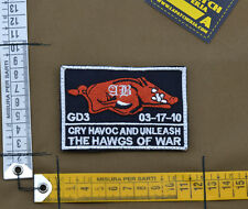 """Ricamata / Embroidered Patch """"GD3 The Hawgs of War"""" with VELCRO® brand hook"""