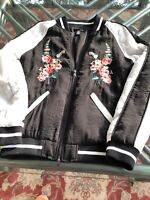 AQUA Bloomingdale's Black Satin Floral Embroidered Zip Bomber Jacket Size Small