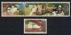 Norfolk Tropic Birds Terns Noddy Christmas strip of 3v+1v 1980 MNH