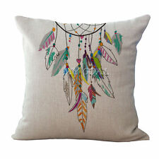 Feathers Dream Catcher Image Beautiful Linen Square Pillow Cushion Cover.