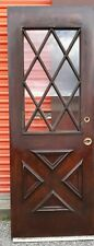 Exterior Vintage Wood Door With Criss Cross Glass Approx 30 X 82 We Ship!