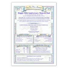 Personalised 50th Golden Wedding Anniversary Gift - Parents Grandparents Friends