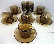 More details for vintage 18-piece french vereco tempered smoked glass set teacups saucers bowls