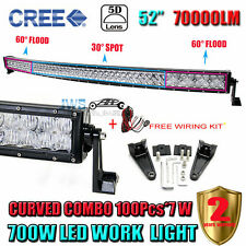 5D Curved CREE 700W 52inch LED Light Bar Spot Flood Combo Fog Car Driving Truck