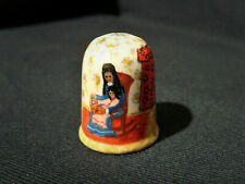 More details for vintage antique naive hand painted thimble mother & child story book reading
