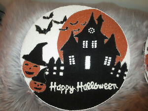 NICOLE MILLER BEADED HAUNTED HOUSE HALLOWEEN ROUND TABLE PLACEMATS- SET OF 4