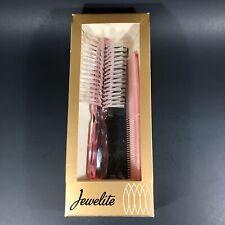 Vintage 1950-60s Jewelite BRUSH & COMB SET -Translucent Pink NEW in Original Box