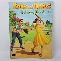 1958 Boys and Girls Coloring Book Whitman Pretend Play Farm Animals Pets 0508