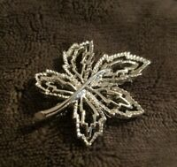 Gerry's Vintage silvertone textured maple leaf Brooch costume jewellery