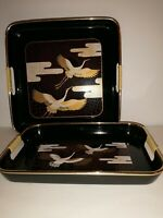 Set Of 2 Japanese Serving Trays Flying Cranes Lacquer Wear 10x10, 10x7 Inches