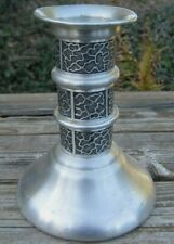 """Vintage Norway Pewter Tinn Candle Holder ITB 6"""" Modern Brutalist Design Abstract"""