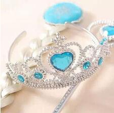 UK Seller Frozen Costume Princess Queen Elsa 3 Pcs Set Crown+ Hair Piece+ Wand
