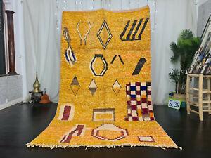 "Bohemian Moroccan Boujaad Handmade Rug 5'2""x8'8"" Berber Abstract Orange Carpet"