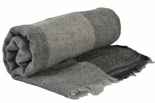 100% Wool 3 Colours Stripes Black Grey Pashmina Cashmere Scarf Shawl Wrap Unisex