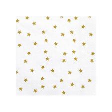 ++ 20 Servietten weiß, Sterne gold | aus Papier ++