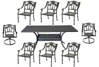 Patio dining set 8 person Palm Tree chairs with Nassau rectangular table.