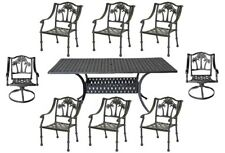 8 person patio dining set Palm Tree chairs with Nassau rectangular table.