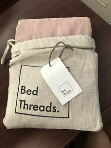 Bed Threads Standard Lavender 100% Flax Linen Pillowcases NEW
