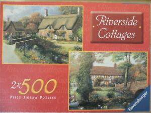 Ravensburger Riverside Cottages double Jigsaw Puzzle 2 x 500 Pieces complete.