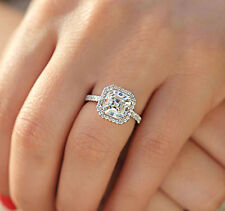 14K WHITE GOLD ASSCHER SIMULATED DIAMOND ENGAGEMENT RING BRIDAL HALO PRONG 3.50