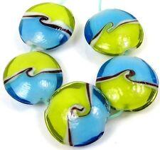 22mm Lampwork Handmade Glass blue green Ocean Sea Waves Lentil Beads (5)