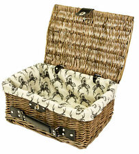 east2eden Antique Brown Wicker Lidded Hamper Basket With Leather Handle and Stag