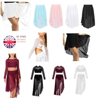 UK Kids Girls Praise Lyrical Ballet Latin Dance Dress High-Low Skirt Gym Costume