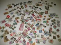 Huge Mix Lot Stamps WORLDWIDE France Brazil Belgium ++ Postmarked Glued to paper