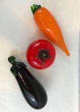 Murano Style Glass Eggplant Carrot Tomato Decorative Vegetables